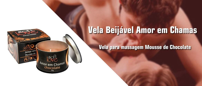 Vela Beijável Amor em Chamas - Vela para massagem Mousse de Chocolate