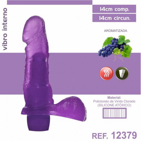 Pênis Realístico Translúcido com vibro e com escroto - Dildo 14 cm